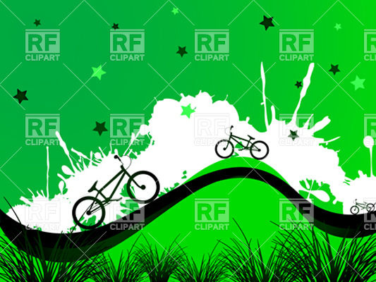 Green background with bicycles.