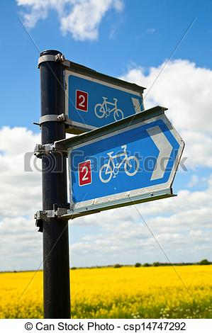 Stock Photographs of Bikeway directional sign.