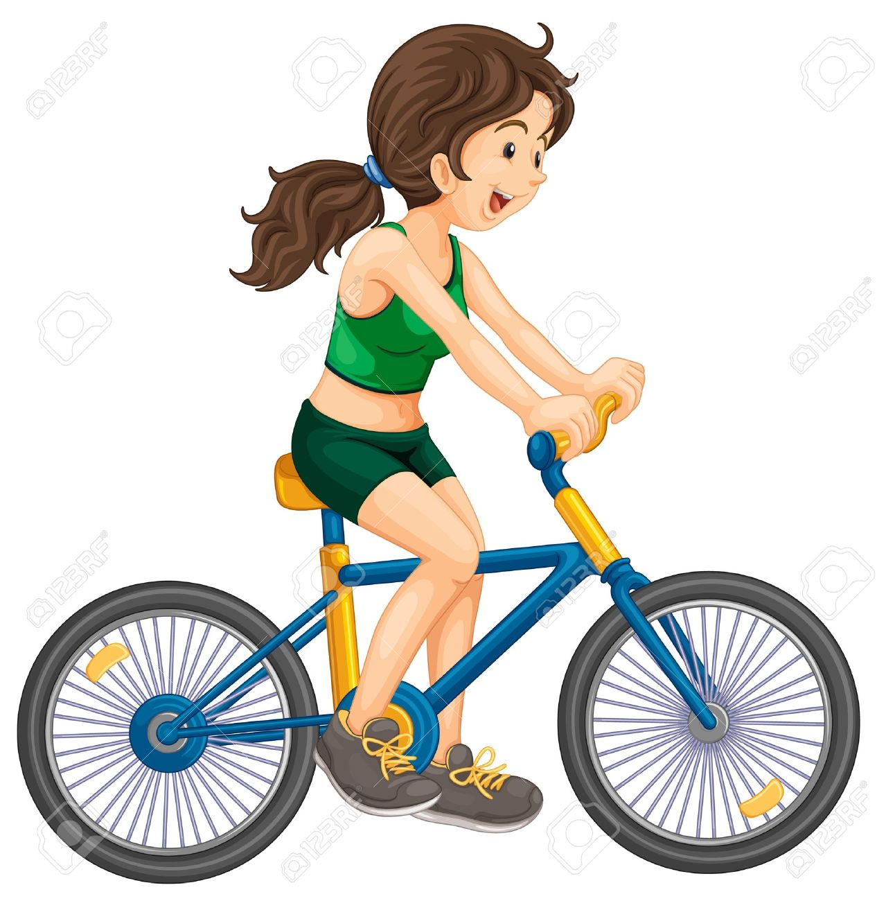 Female Biking Clipart.