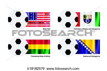 Clip Art of An Illustration of Soccer Balls or Footballs with.