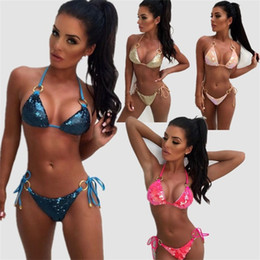 Split Body Bikini Set Sequins Metal Ring Color Mix Ladies Bling Bling  Swimsuit Party Swimsuit Swimming Wading Home Clothing New Arrival 29z.