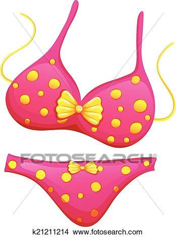 A pink bikini Clipart.