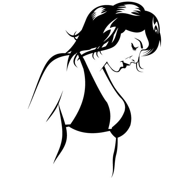 Beautiful Girl In Bikini Vector Image.