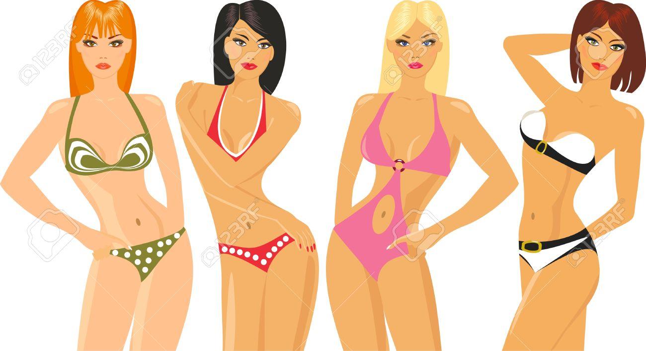Bikini model clipart.