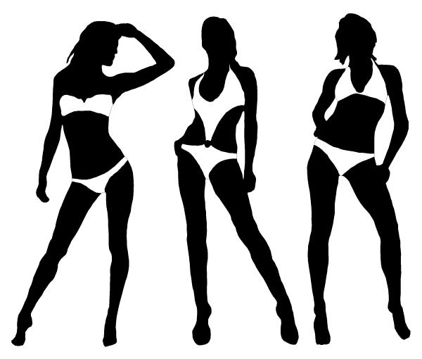 Bikini models clipart.