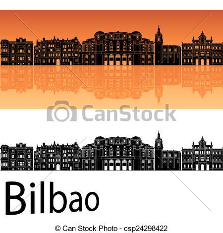 Vector Illustration of Bilbao skyline in orange background in.