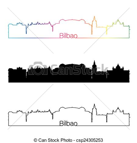 Clipart Vector of Bilbao skyline linear style with rainbow in.