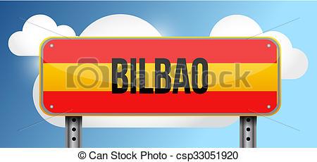 Clip Art of bilbao spain road street sign illustration design.