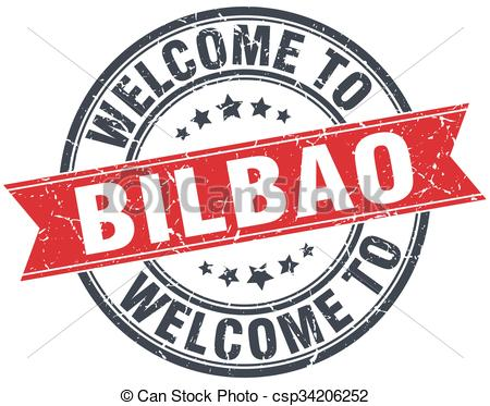 Clipart Vector of welcome to Bilbao red round vintage stamp.