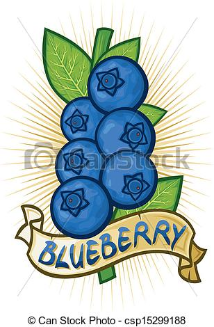 Vector of blueberries label (bilberries with leaves, blueberry on.