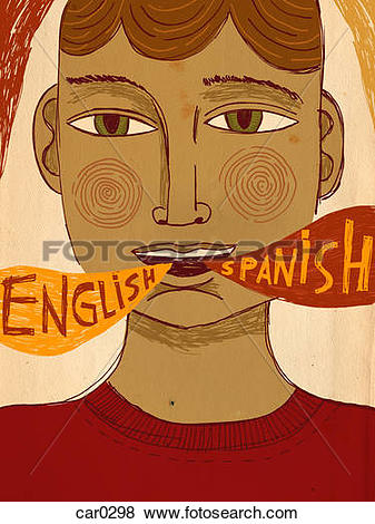 Stock Illustration of A bilingual man speaking Spanish and English.