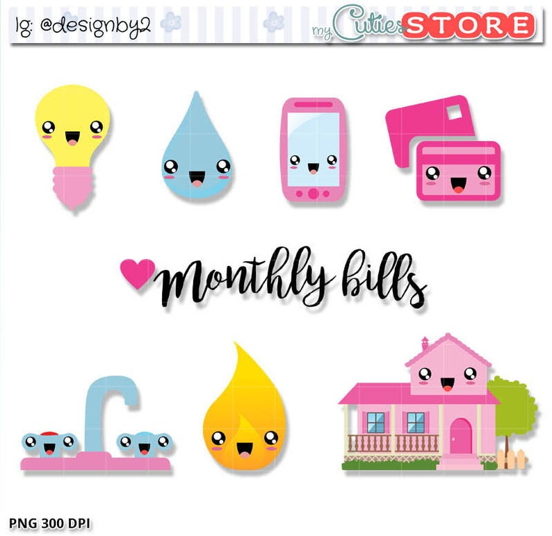 Monthly Bills Kawaii Clipart. Cute bill due clip art set for Planner  Stickers or papercrafts. Commercial Use Allowed..