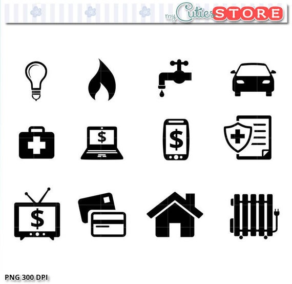 Payments and Bill Due Icons Clipart, rent due, insurance, car payment,  mortgage digital PNG graphics Set..