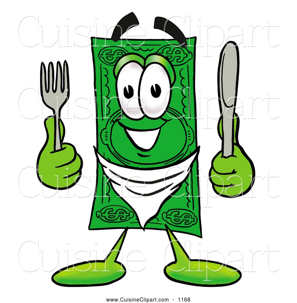 Cuisine Clipart of a Cash Dollar Bill Mascot Cartoon Character.