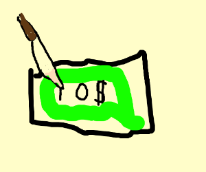 Cutting a 10 dollar bill with a knife? (drawing by John48991).