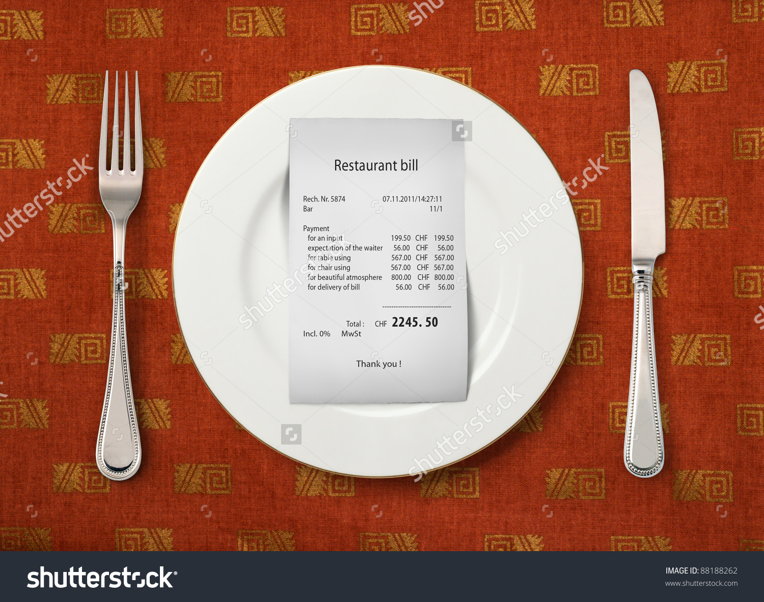Bill On Empty Plate Restaurant Stock Photo 88188262.