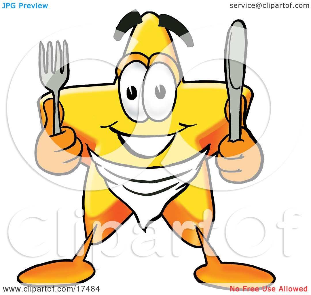 Clipart Picture of a Star Mascot Cartoon Character Holding a Knife.