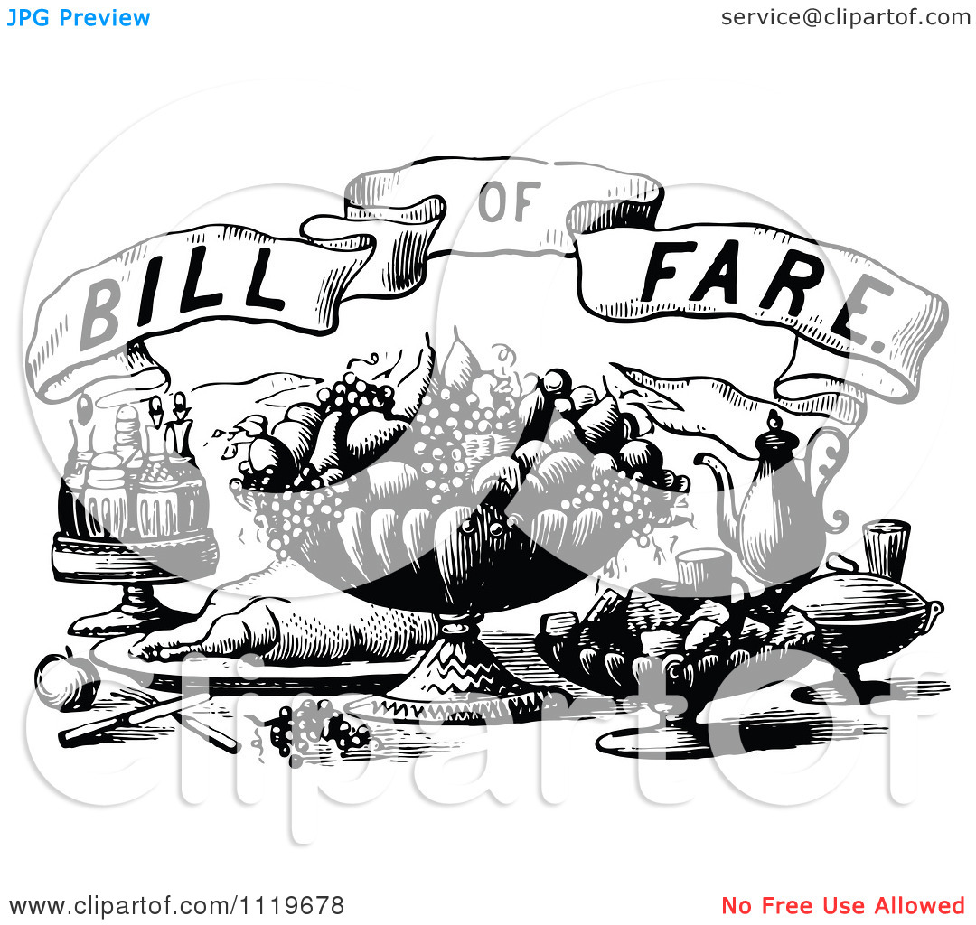 Clipart Of Retro Vintage Black And White Bill Of Fare Text Over.