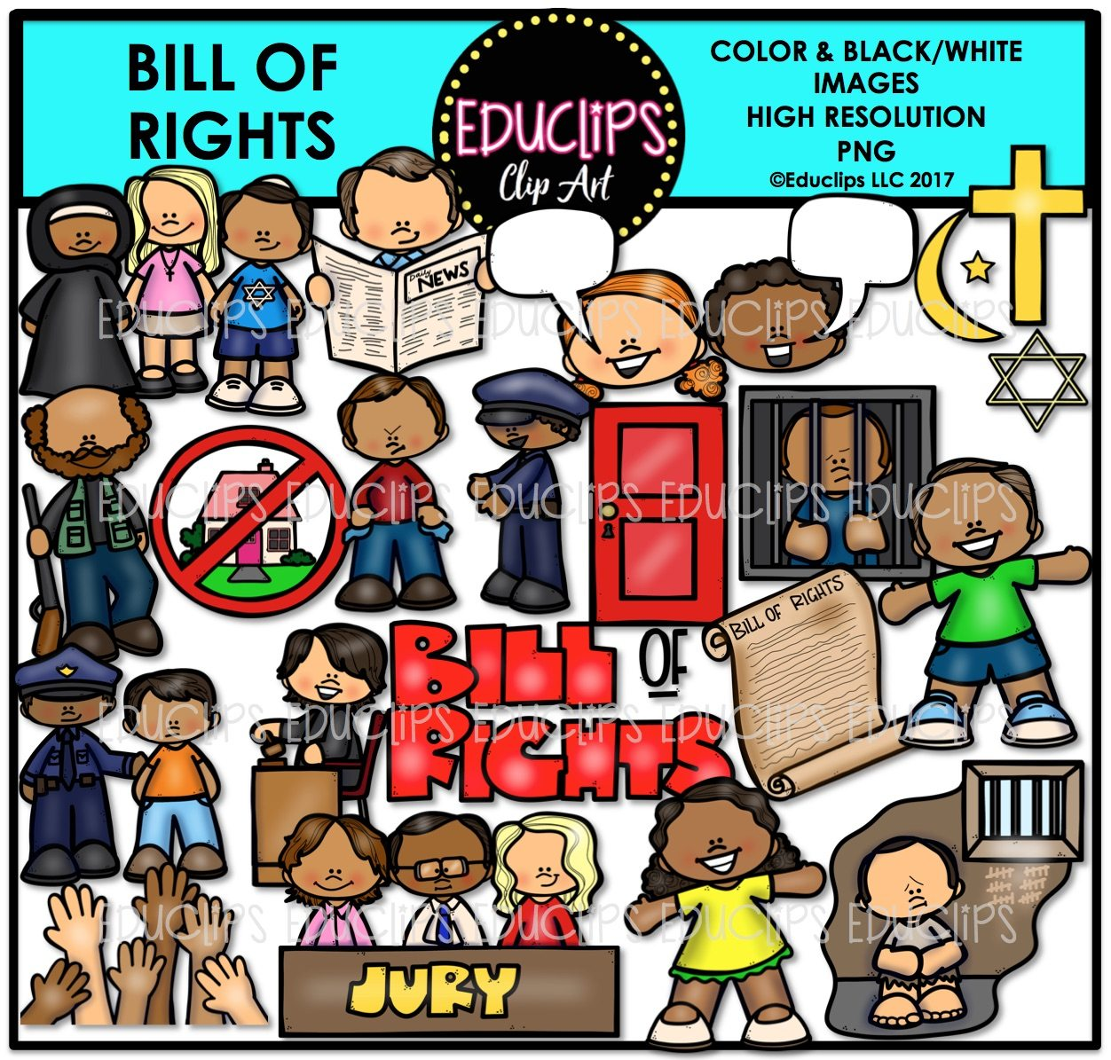 Bill Of Rights Clip Art Bundle (Color and B&W).