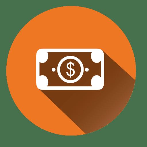Dollar bill circle icon.