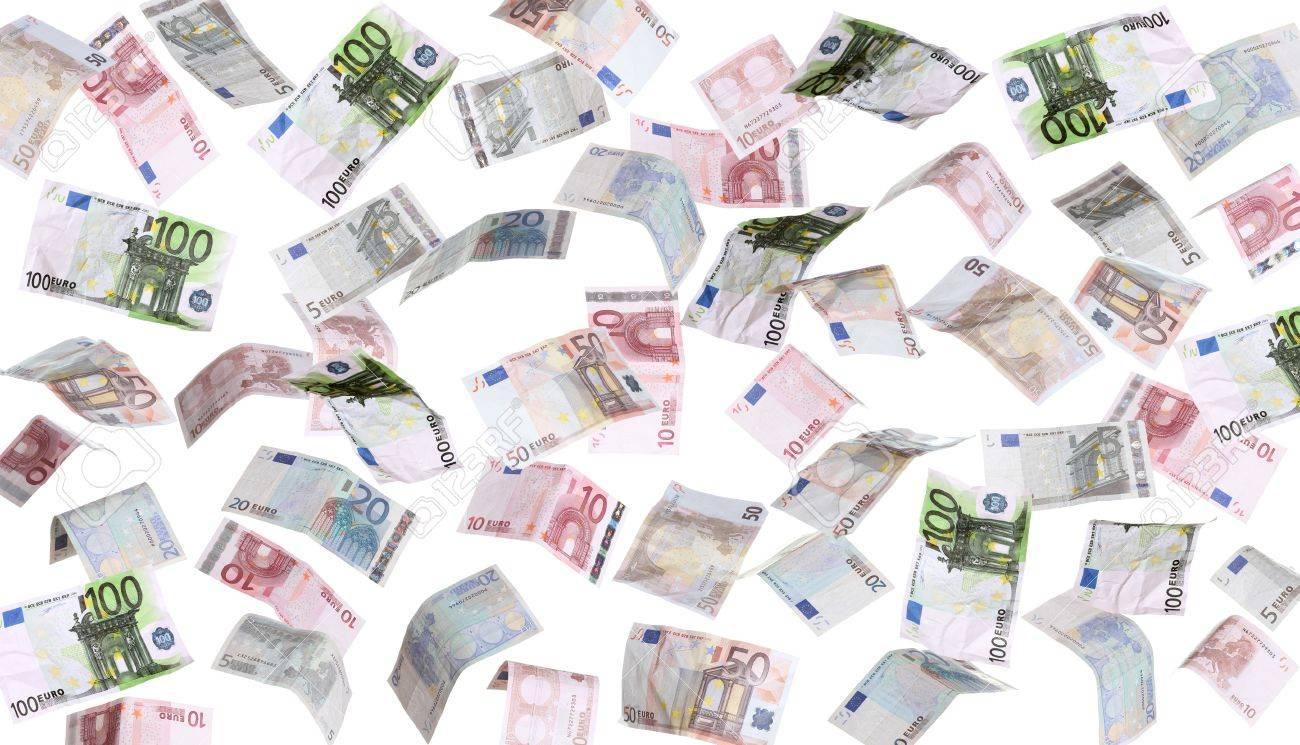 Pluie de billets de banque européens.