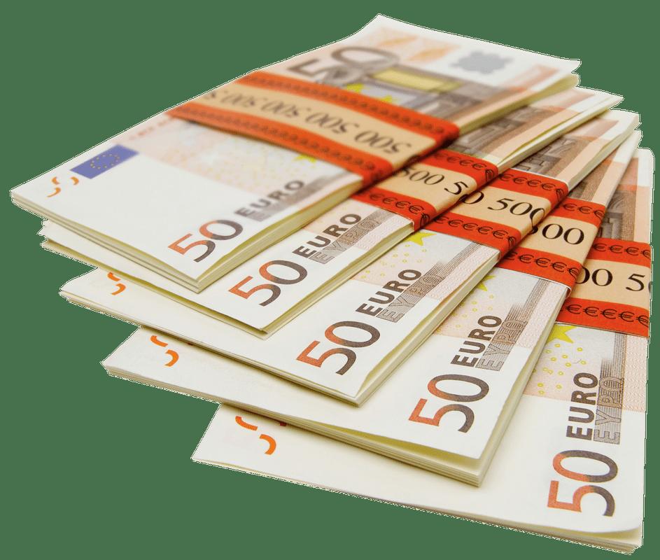 Pile de billets de 500 Euros PNG transparents.