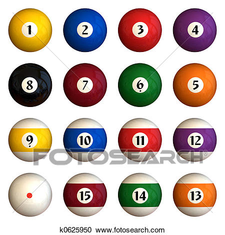 Isolated pool balls Clipart.
