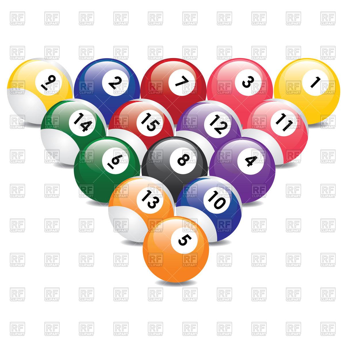 Triangle from fifteen billiard balls Stock Vector Image.