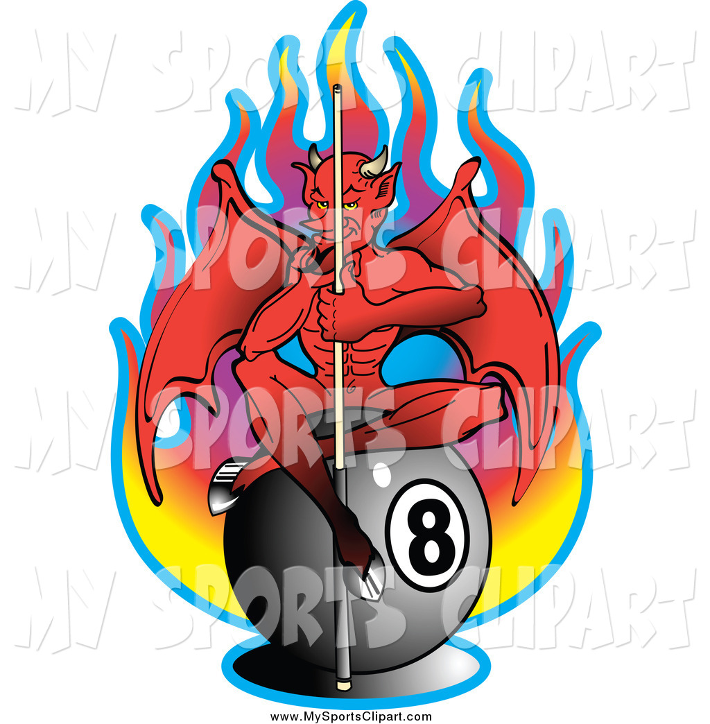 Sports Clip Art of a Billiards Devil Sitting on an Eight Ball in.