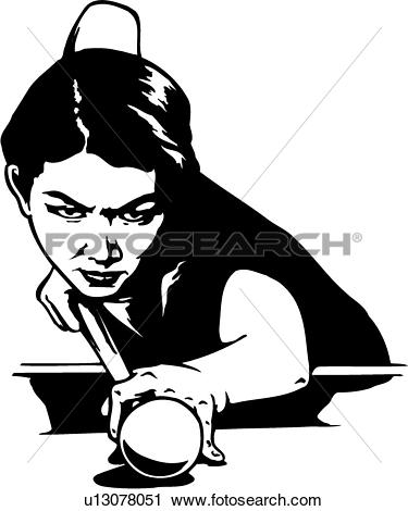 Clipart of illustration, lineart, shooter, game, billiards, sport.