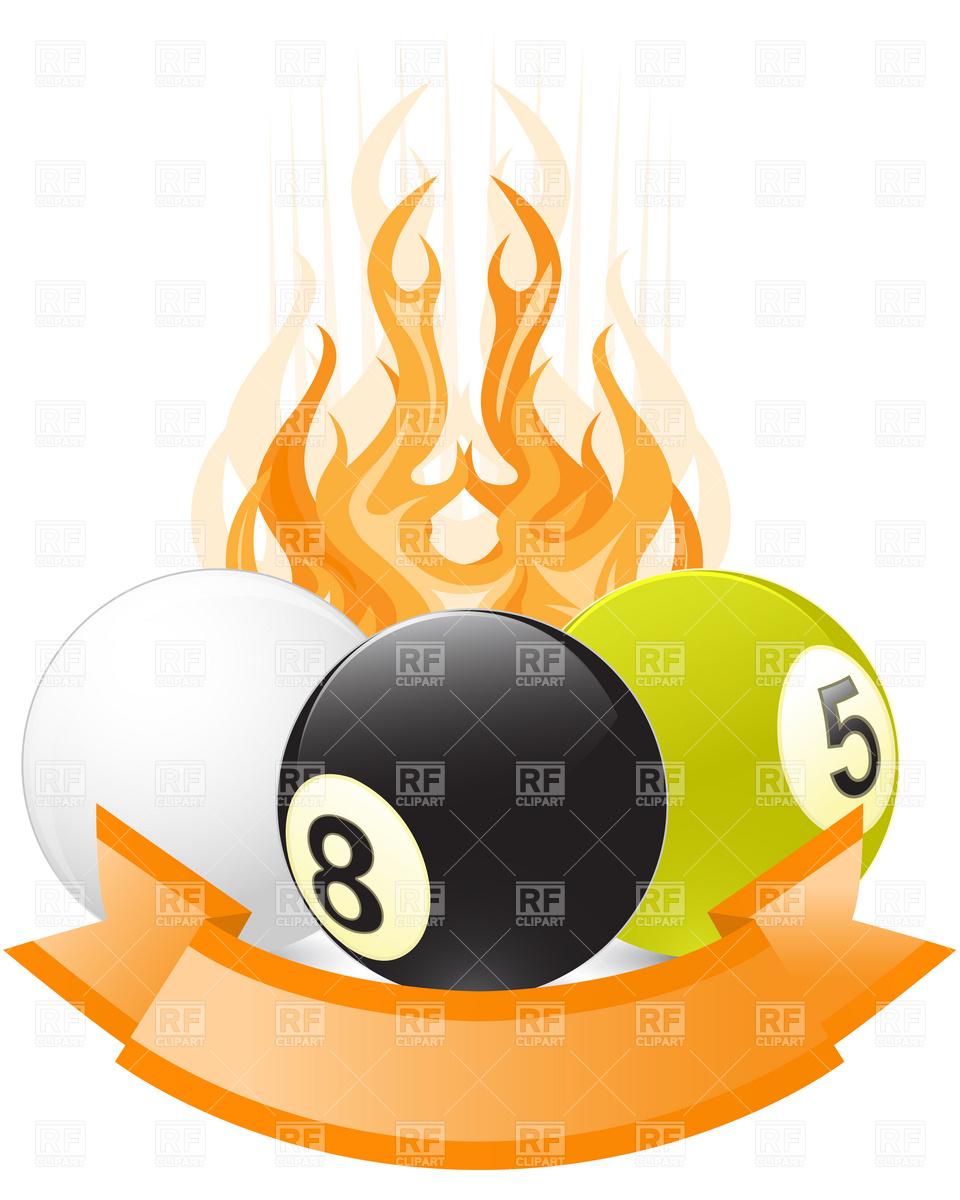 Billiard ball emblem in flame Vector Image #4888.
