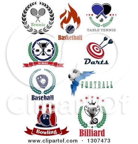 Clipart of Tennis, Basketball, Ping Pong, Hockey, Darts, Soccer.