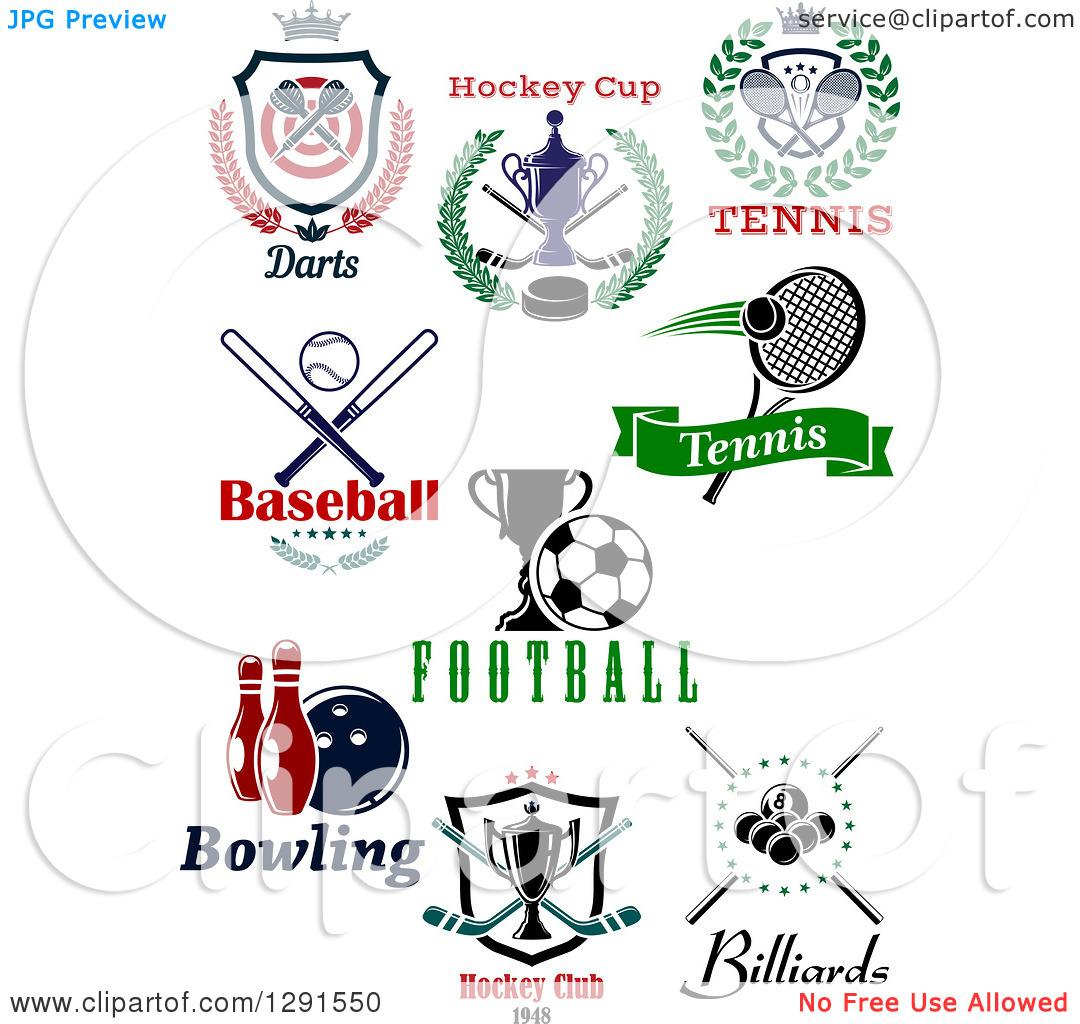 Clipart of Dart, Hockey, Tennis, Baseball, Soccer, Bowling and.