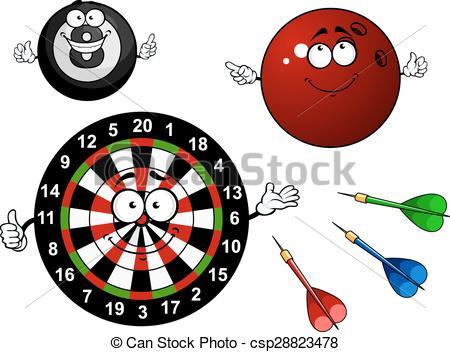 Vectors Illustration of Dartboard, bowling and billiard sport.