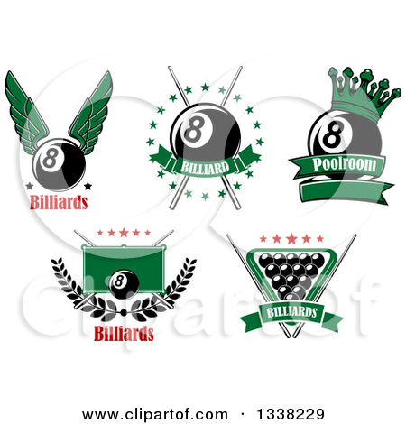 Clipart O Pool Billiards Sports Designs with Text.