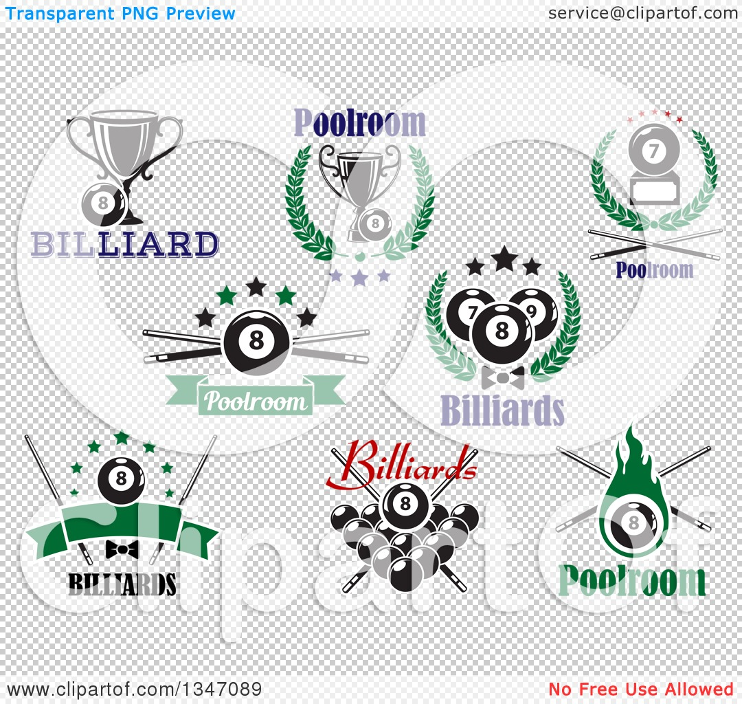 Clipart of Billiard Eightball Athletic Sports Designs with Text 2.