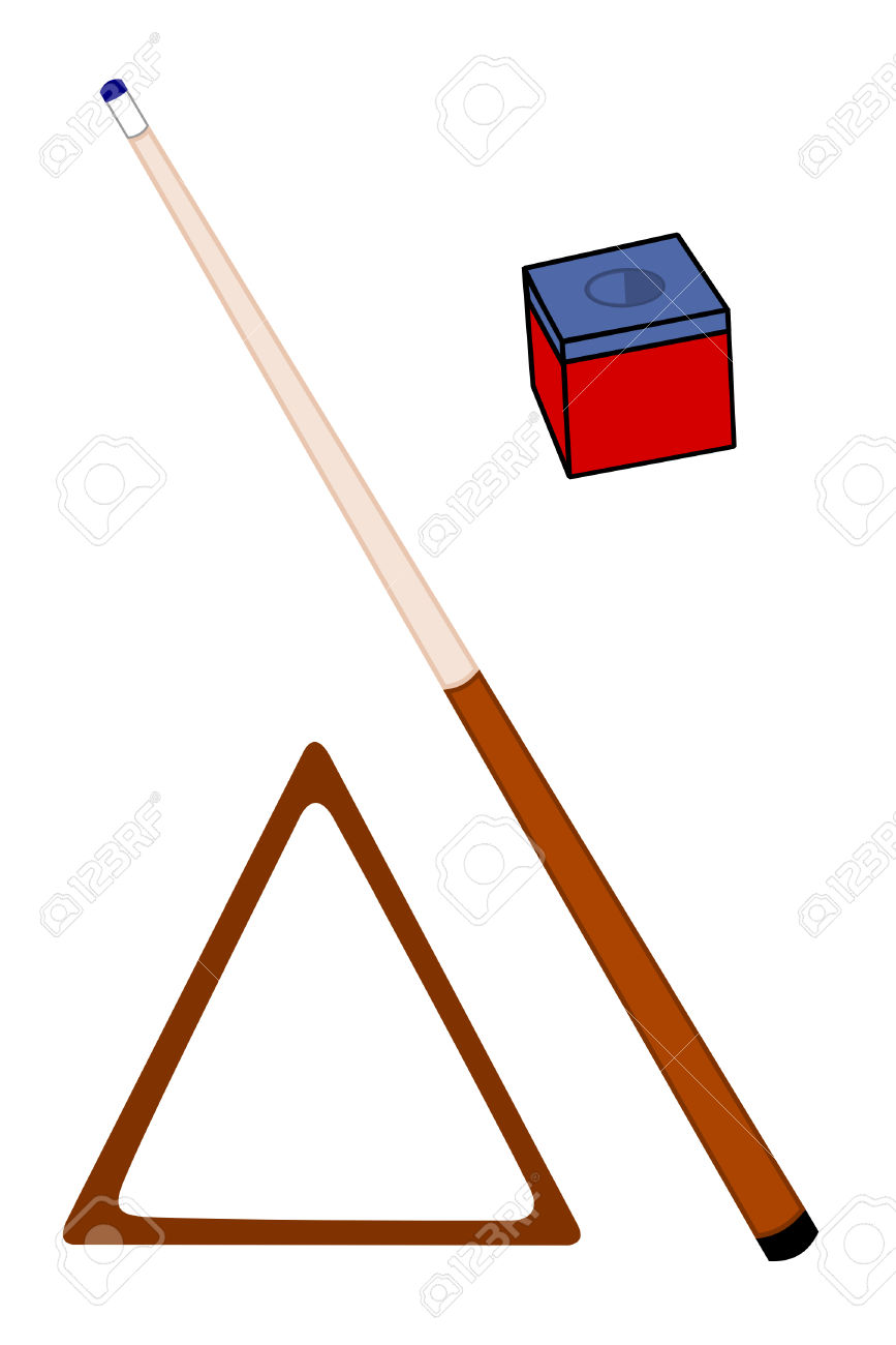 A Cue Stick With Chalk And Rack Royalty Free Cliparts, Vectors.