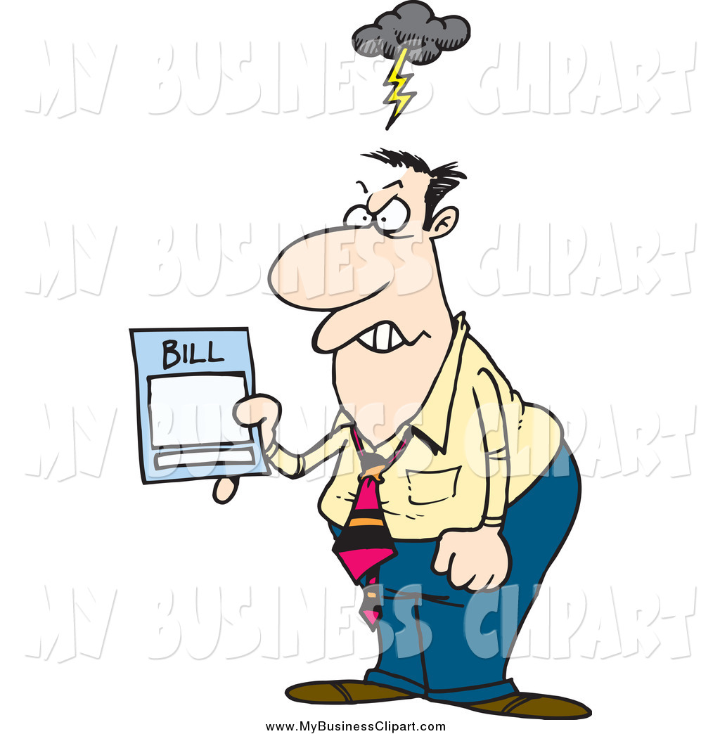 Vector Clip Art of a Mad Businessman Holding a Billing Statement.