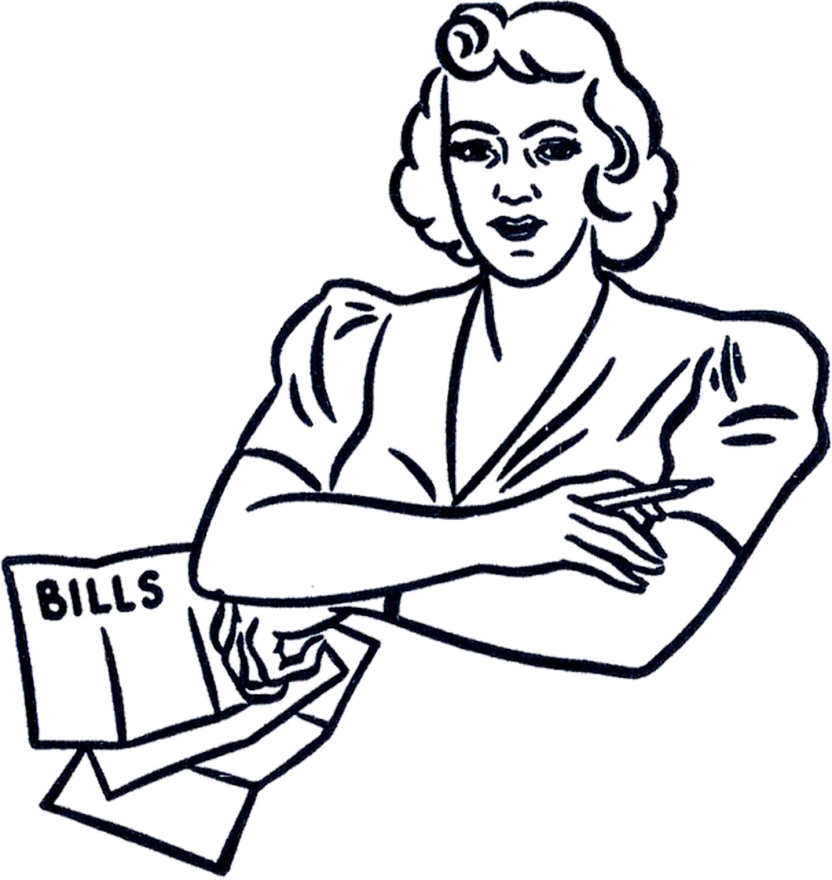 Retro Bills Lady Clip Art.