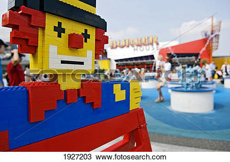 Stock Photo of Clown Out Of Building Blocks Outside Legoland.