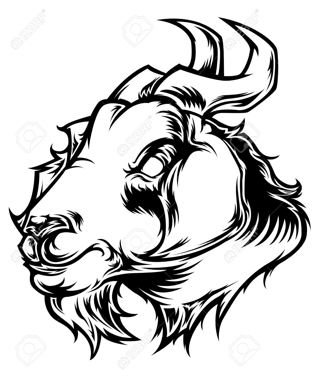 Goat Head Clip Art Black And White