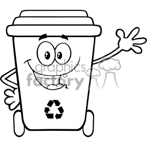 Black And White Happy Recycle Bin Cartoon Mascot Character Waving For  Greeting Vector clipart. Royalty.