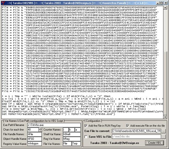Tarasco Security: Exe to vbs encoder (binary to ascii).