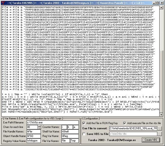 Tarasco Security: Exe to vbs encoder (binary to ascii).