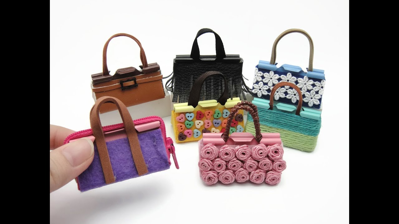 7 DIY Miniature Binder Clip Barbie Mini Bags.