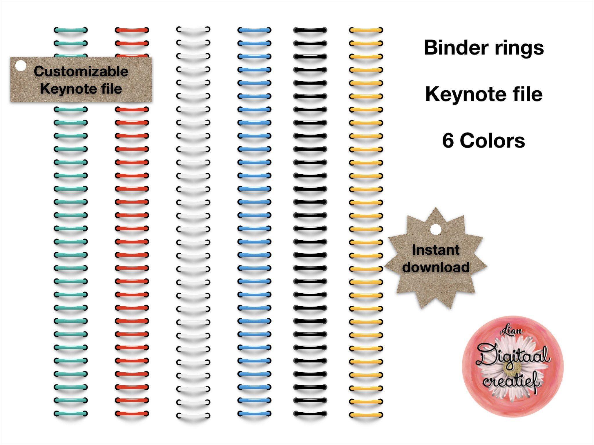 Digital binder rings 6 colors for digital planner or bulletjournal.