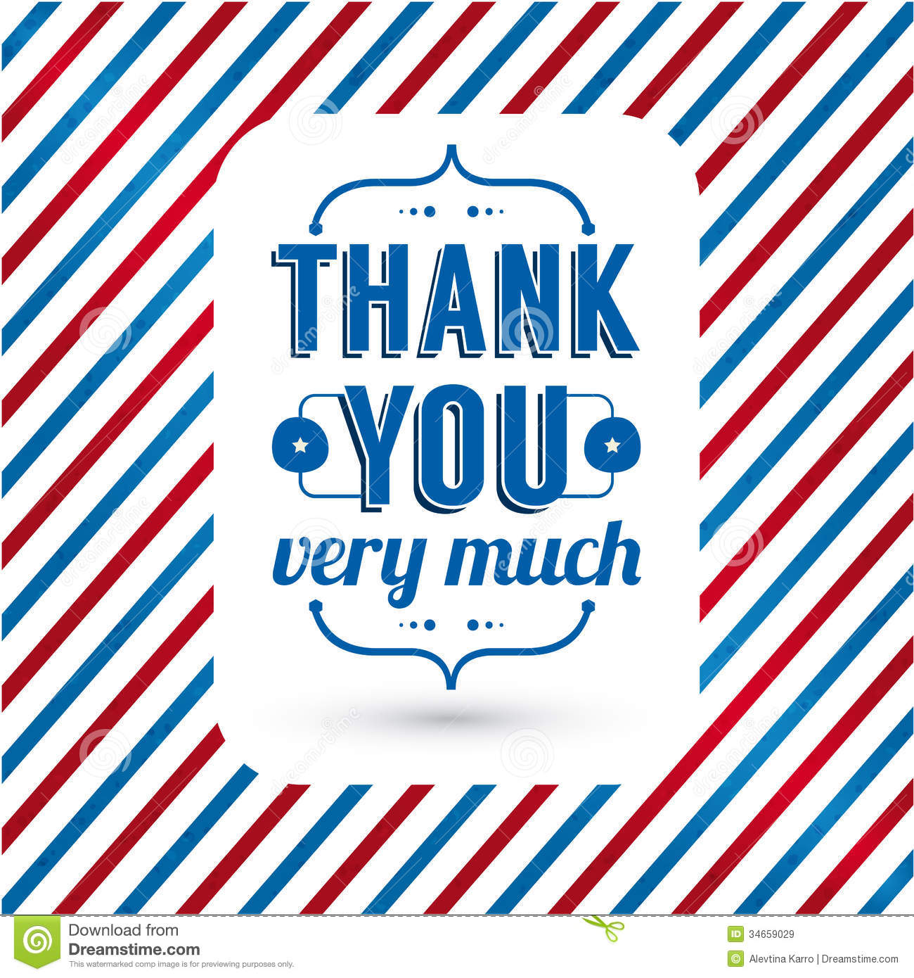 Thank You Card On Tricolor Grunge Background. Stock Vector.
