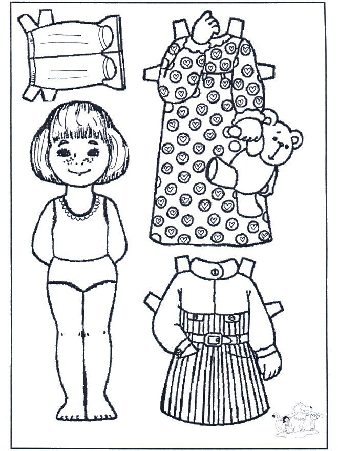 Paper Doll Coloring pages.