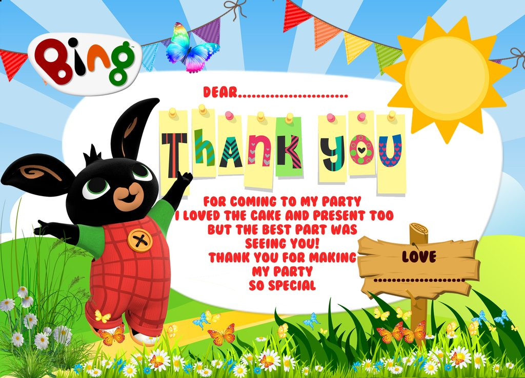 Kids Bing Bunny, Birthday Party Thank you cards, Bing bunny thank you cards.