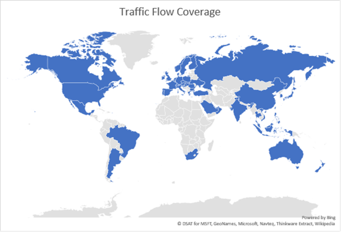 55 countries with Real Time Traffic in Bing Maps.